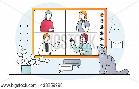 Online Meeting Via Video. Friends Communicate On Internet, Girls Discuss Their Issues. Online Confer