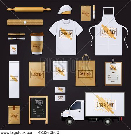 Traditional Bakery Shop Corporate Identity Template With Pastry Dough Rolling Pin Design Black Backg