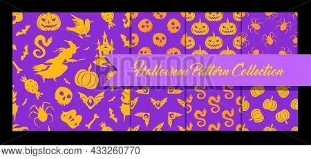 Halloween Seamless Patterns Background Set. Vector Pattern Collection With Holiday Halloween Element