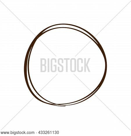 Doodle Hand Drawn Scribble Circle Art Line Frame. Vector Scandinavian Design Element For Your Story