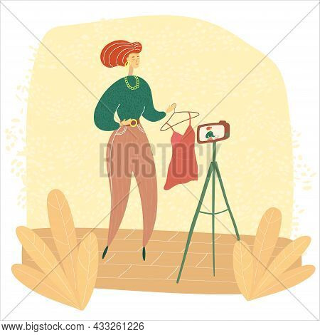 Fashion Blogger Shooting Vlog. Stylist Record Video. Vogue Content Creation. Colored Modern Illustra
