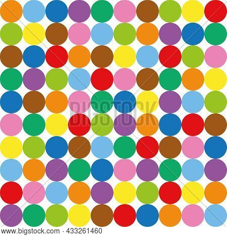 Colorful Circle Pattern Background. Hundred Colored Balls, Seamless Extendable Vector Illustration.