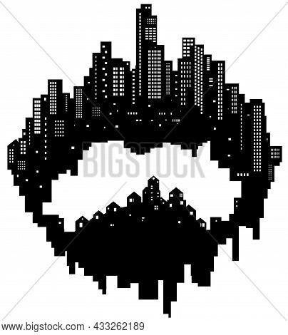 Skyline City Inner Village Silhouette Outline Black, Vector Illustration, Horizontal, Over White, Is