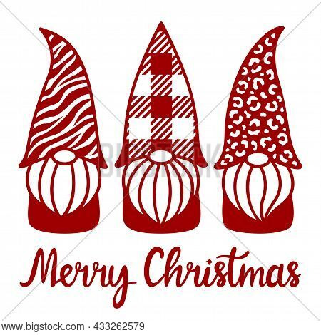 Christmas Gnomes With Plaid, Leopard, Tiger Pattern. Phrase Merry Christmas. Characters With Beards