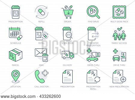 Prescription Refill Line Icons. Vector Illustration Include Icon - Pharmacy, Rx Bottle, Medication,