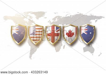 Australia, Us, Great Britain,canada, And New Zealand Flags In Golden Shield On World Map Background.