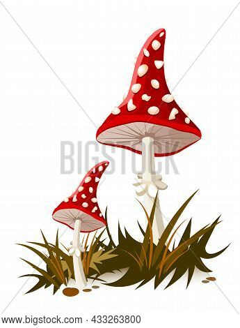 Beautiful Cartoon Mushrooms With A Red Hat And White Spots. Amanita Mushroom.