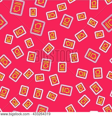 Line Online Real Estate House On Tablet Icon Isolated Seamless Pattern On Red Background. Home Loan
