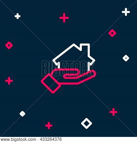 Line Realtor Icon Isolated On Blue Background. Buying House. Colorful Outline Concept. Vector