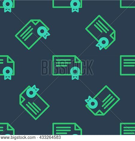 Line Certificate Template Icon Isolated Seamless Pattern On Blue Background. Achievement, Award, Deg