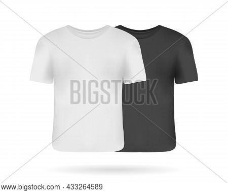 Set Of Realistic Man T-shirts Mockups With Front Views. Black And White Man T-shirts With Short Slee