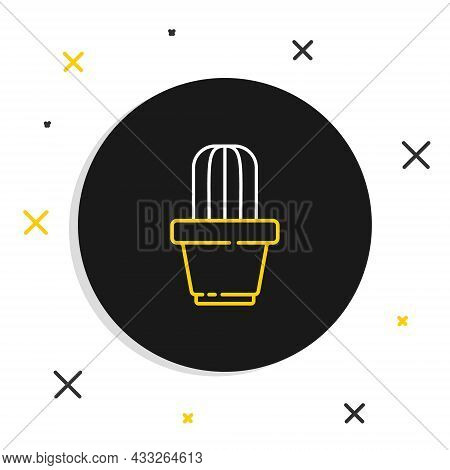Line Cactus And Succulent In Pot Icon Isolated On White Background. Plant Growing In A Pot. Potted P