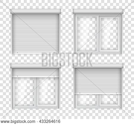 White Double Plastic Windows With Shutters. Realistic Jalousie For Plastic Window. Closed And Open W