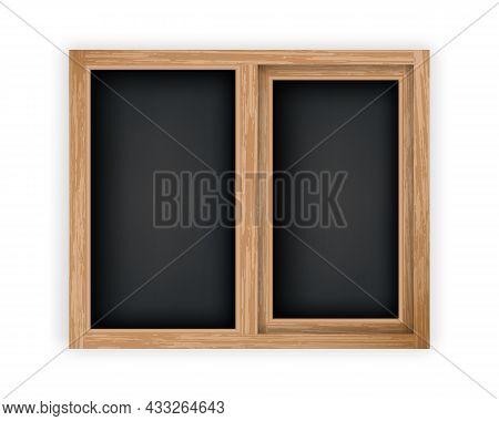Double Casement Wooden Window Mockup Template. Realistic Window With Wood Texture Frame. Windowpane