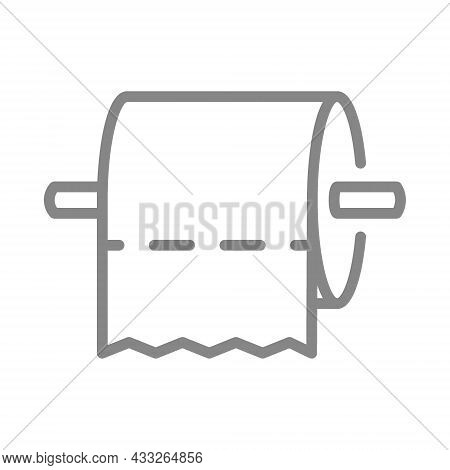 Toilet Paper On Holder Horizontally Line Icon. Napkins, Public Toilet, Personal Care Products, Clean