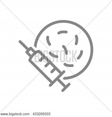 Medical Syringe And Petri Dish With Bacteria Line Icon. Vaccination, Injection, Germs In Syringe, Vi