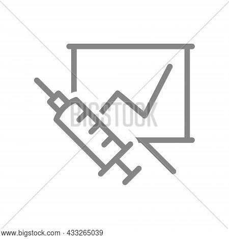 Medical Syringe And Information Board Line Icon. Vaccination Of Population, Vaccination Information,