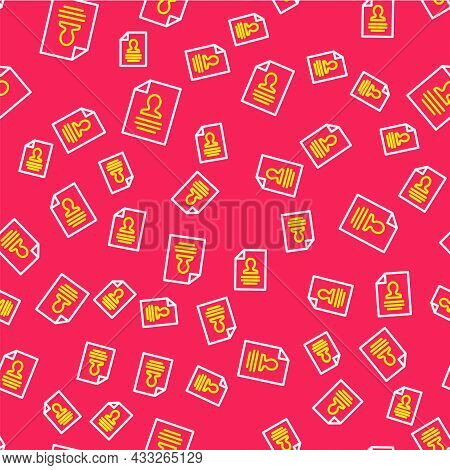 Line Resume Icon Isolated Seamless Pattern On Red Background. Cv Application. Searching Professional