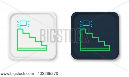 Line Stair With Finish Flag Icon Isolated On White Background. Career Growth Business Concept. Conce
