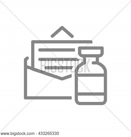 Medical Ampoule And Letter Line Icon. Vaccination Information, Invitation, Permission For Vaccinatio
