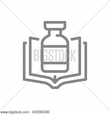 Medical Ampoule And Open Book Line Icon. Vaccination Information, Instructions For The Drug, Serum S