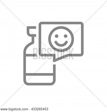 Medical Ampoule And Happy Face In Speech Buble Line Icon. Vaccination, Vaccine Evaluation, Positive