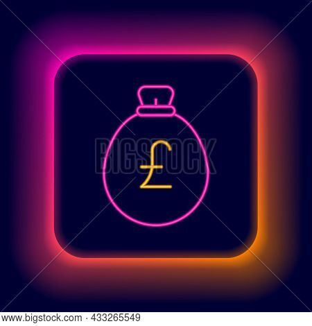 Glowing Neon Line Money Bag With Pound Icon Isolated On Black Background. Pound Gbp Currency Symbol.