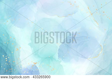 Abstract Turquoise And Teal Blue Liquid Marbled Watercolor Background With Wave Pattern And Golden C