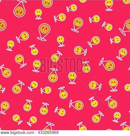 Line Location Peace Icon Isolated Seamless Pattern On Red Background. Hippie Symbol Of Peace. Vector