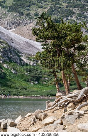 St. Mary's Glacier Lake In Colorado On A Hike In The Summer Sunshine