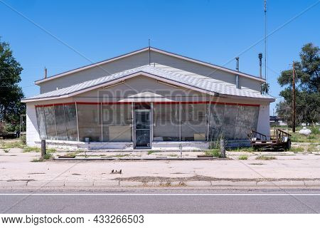 Cope, Colorado - July 28, 2021: Abandoned Building Left To Decay In The Small Town Of Cope, Co