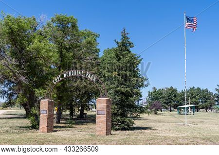 Cope, Colorado - July 28, 2021: Sign And Gate For The Cope Memorial Park In The Small Town
