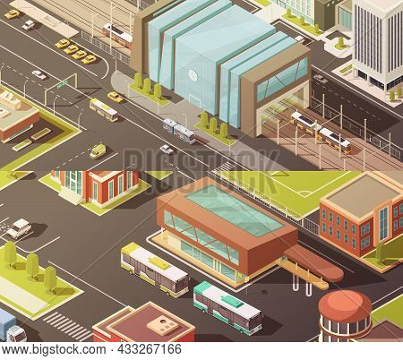 Government Buildings Isometric Horizontal Banners Set With Establishment Symbols Isolated Vector Ill