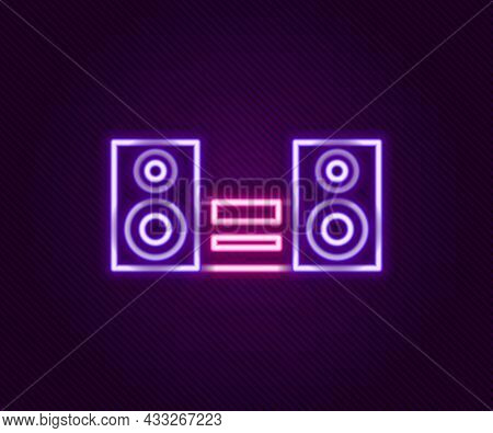 Glowing Neon Line Home Stereo With Two Speaker S Icon Isolated On Black Background. Music System. Co