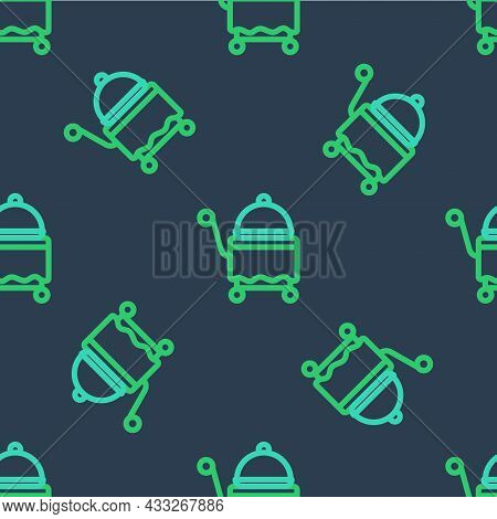 Line Covered With A Tray Of Food Icon Isolated Seamless Pattern On Blue Background. Tray And Lid Sig