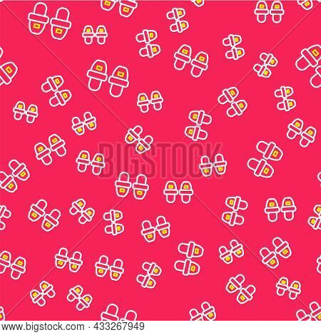 Line Hotel Slippers Icon Isolated Seamless Pattern On Red Background. Flip Flops Sign. Vector