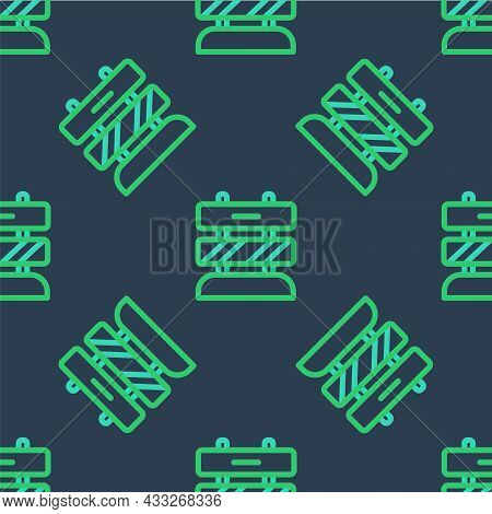 Line End Of Railway Tracks Icon Isolated Seamless Pattern On Blue Background. Stop Sign. Railroad Bu