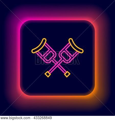 Glowing Neon Line Crutch Or Crutches Icon Isolated On Black Background. Equipment For Rehabilitation