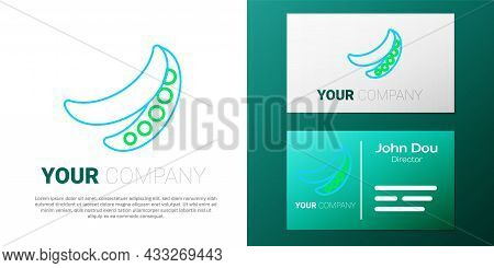 Line Green Peas Icon Isolated On White Background. Colorful Outline Concept. Vector