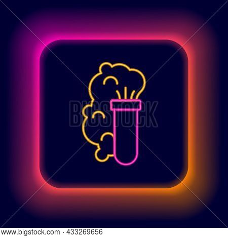 Glowing Neon Line Chemical Experiment, Explosion In The Flask Icon Isolated On Black Background. Che