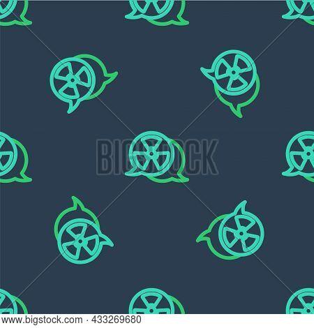 Line Radioactive Icon Isolated Seamless Pattern On Blue Background. Radioactive Toxic Symbol. Radiat