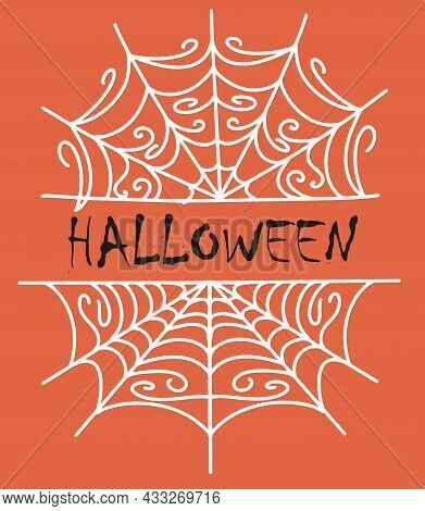 Cartoon Spider Web Collection For Halloween Design And Decoration. Isolated Background, A Simple And