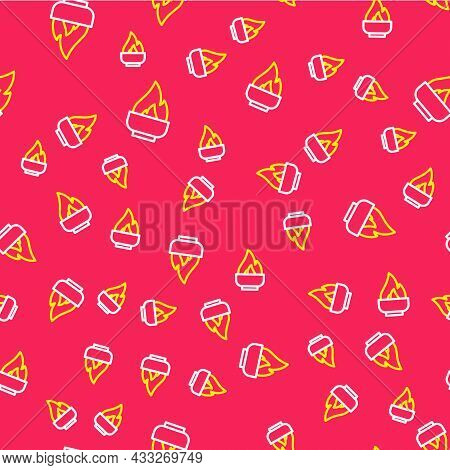 Line Alcohol Or Spirit Burner Icon Isolated Seamless Pattern On Red Background. Chemical Equipment.