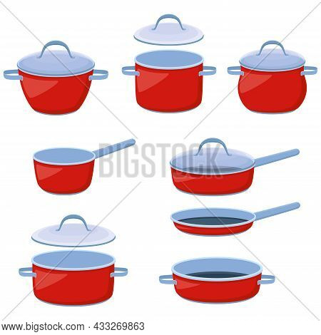 Cooking Pots, Saucepans And Frying Pans. Set Of Kitchen Utensils For Boiling And Frying, Vector Illu