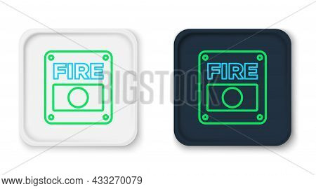 Line Fire Alarm System Icon Isolated On White Background. Pull Danger Fire Safety Box. Colorful Outl