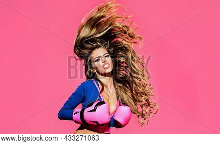 Sporty Sexy Girl In Boxing Gloves. Female Boxer Ready For Fight. Sport And Healthy Lifestyle.