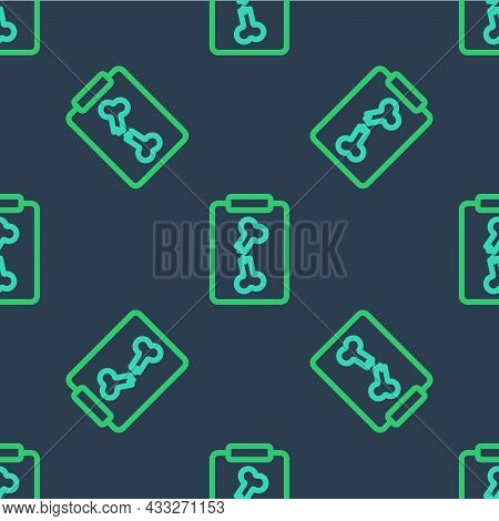 Line X-ray Shots Icon Isolated Seamless Pattern On Blue Background. Vector