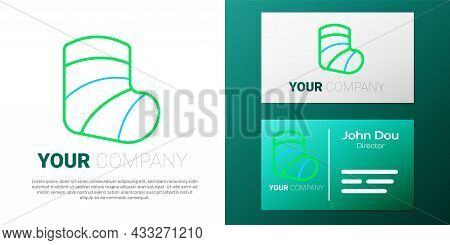 Line Gypsum Cast Medical Health Broken Leg Icon Isolated On White Background. Colorful Outline Conce
