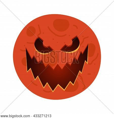Red Moon With Carved Scary Spooky Jack-o-lantern Creepy Toothy Smile Face. Evil Happy Halloween Holi