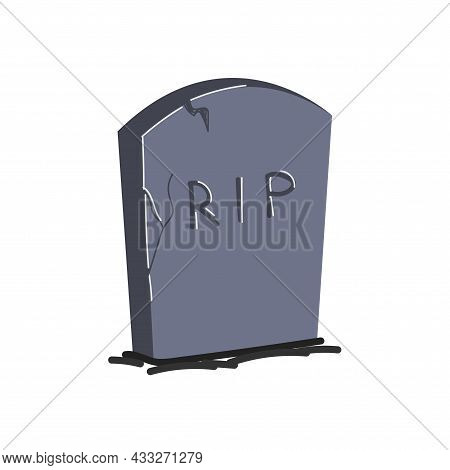Drawing Gravestone Isolated. Gray Monument On Grave Of Rip. Tombstone Hand-drawn Vector Eps Illustra